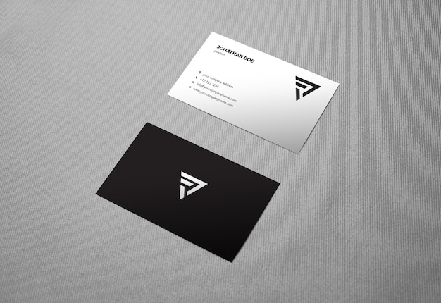 Linen fabric vertical businesscard mockup