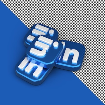 Linkden 3d 앱 아이콘 렌더링 절연 프리미엄 PSD 파일