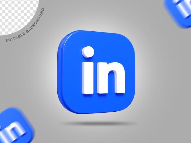 Linkedin 3d 로고 소셜 미디어 렌더링 배경 편집 가능