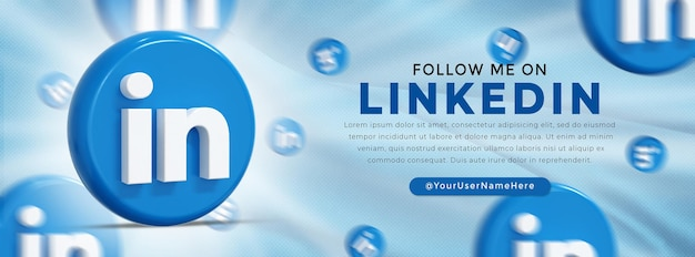 Linkedin glossy logo and social media icons web banner