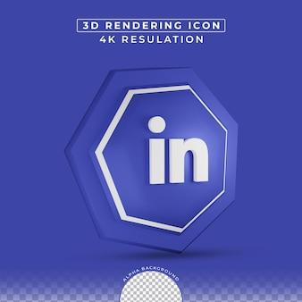 3d 렌더링의 Linkedin 아이콘 소셜 미디어 프리미엄 PSD 파일