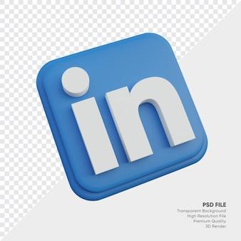 고립 된 둥근 모서리 사각형에 linkedin 아이소메트릭 3d 스타일 로고 개념 아이콘