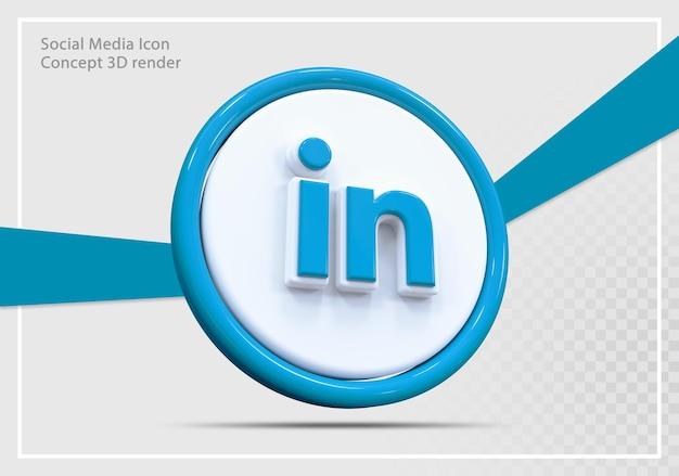 Linkedin 소셜 미디어 아이콘 3d 렌더링 개념