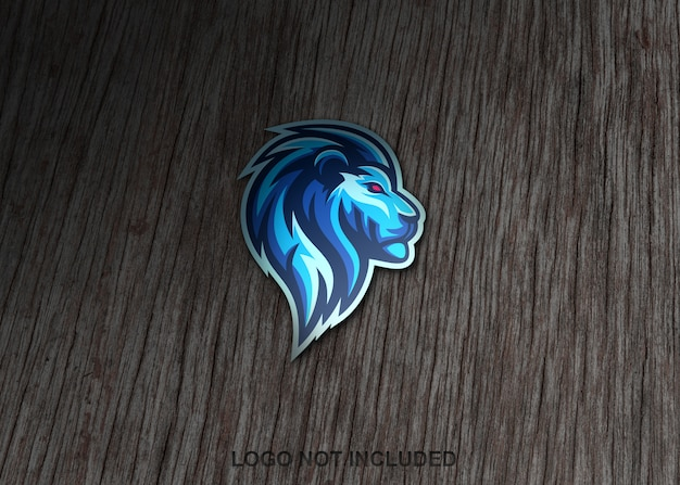 Lion sticker on wooden surface