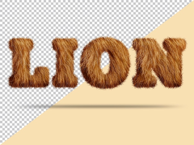 Lion text with realistic 3d fur