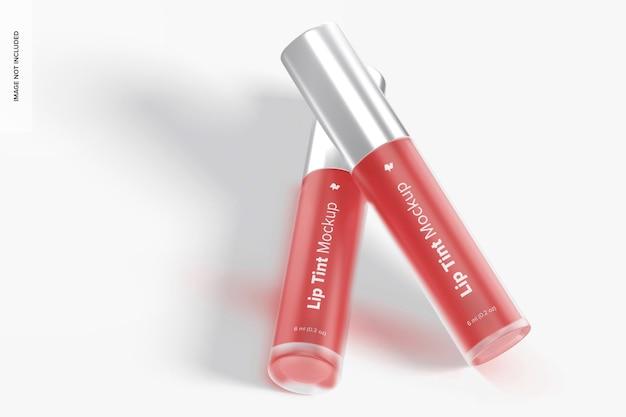 Mockup di tubi per la tintura delle labbra, vista prospettica