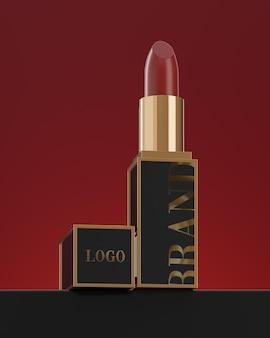 립스틱 모형 로고 빨간색 배경 3d 렌더링