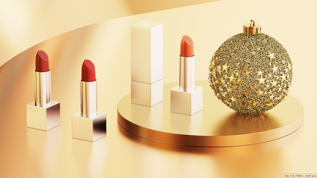 Lipstick with round podium and chritmas ball. 3d render