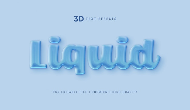 Шаблон эффекта жидкого 3d текста
