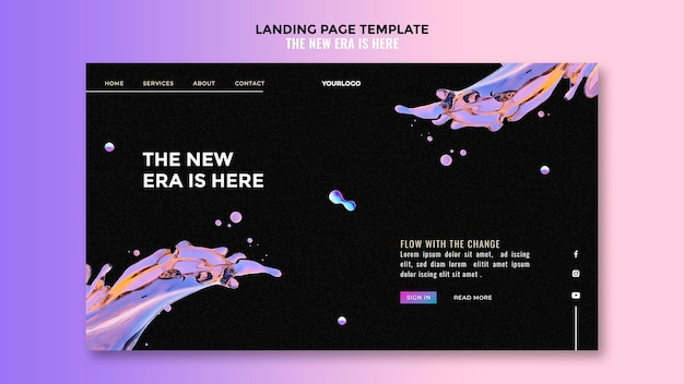 Liquid design template landing page