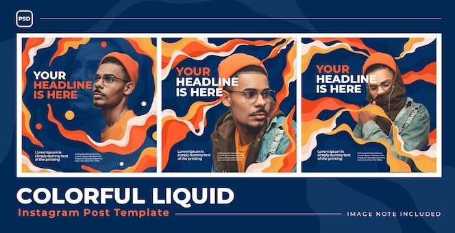 Liquid fire social media instagram template