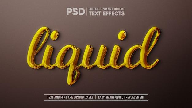 液体ゴールドの編集可能なテキスト効果のスマートオブジェクトモックアップ