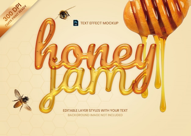 Liquid honey jam  text effect  print template