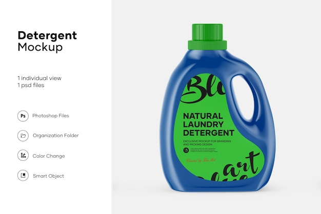 Liquid laundry detergent cleaning mockup design isolated