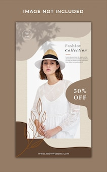 liquid pastel brown fashion promotion instagram stories banner template