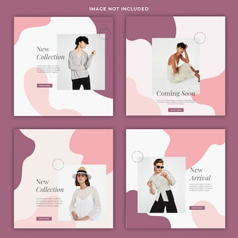 Liquid pastel fashion social media banner template