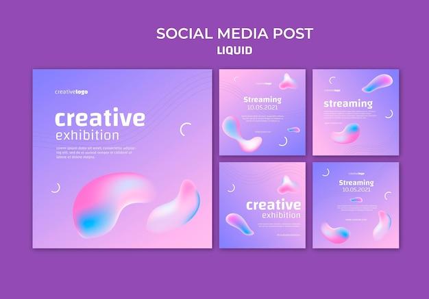 Modello di post sui social media liquido
