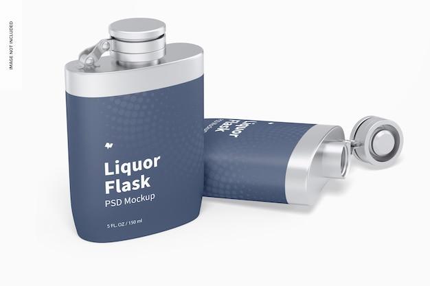 ラップモックアップ付きの酒フラスコ