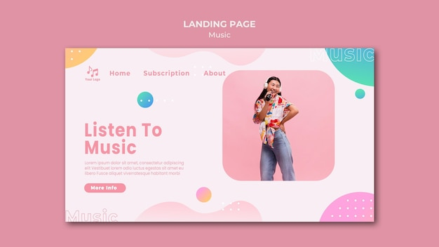Listen to music landing page template