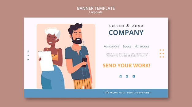 Listen and read corporate banner template