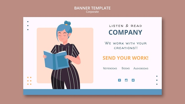 Listen and read corporate banner web template
