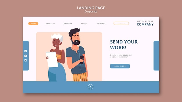 Listen and read corporate landing page web template
