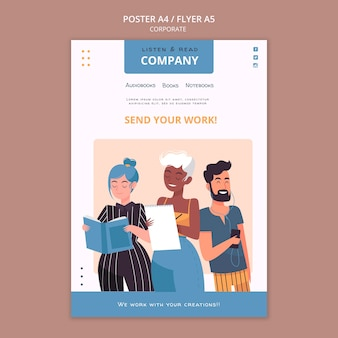 Listen and read corporate poster template