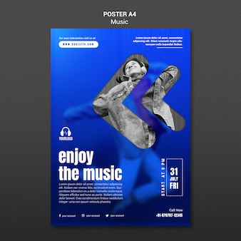 Listening to music poster template