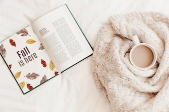 Literature and autumn mockup