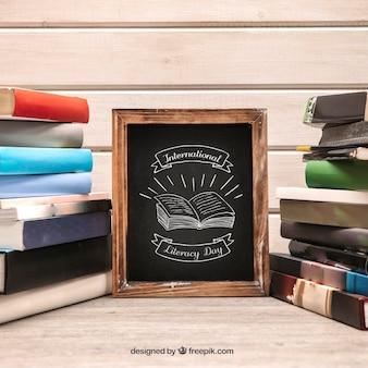Литературный макет с крупным планом сланца