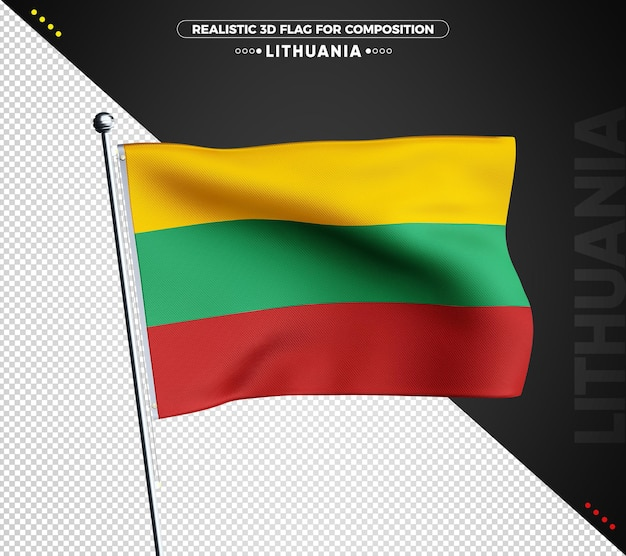 Lithuania 3d textured flag for composition