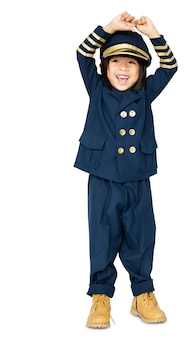 Little boy with pilot dream job smiling
