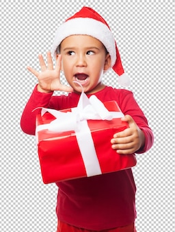 Little kid boy celebrating christmas