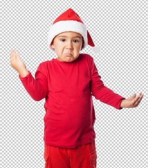 Little kid boy celebrating christmas