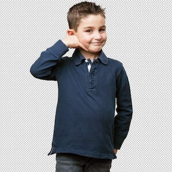Little kid calling gesture