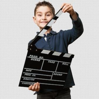 Little kid holding a clapper