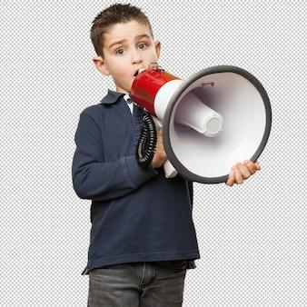 Little kid holding a megaphone