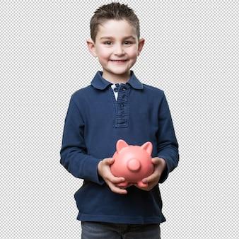 Little kid holding a piggy bank