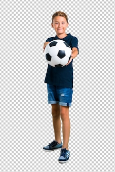 Little kid playing soccer