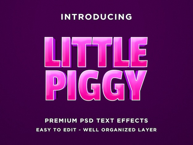 Little piggy game style 3d text effect