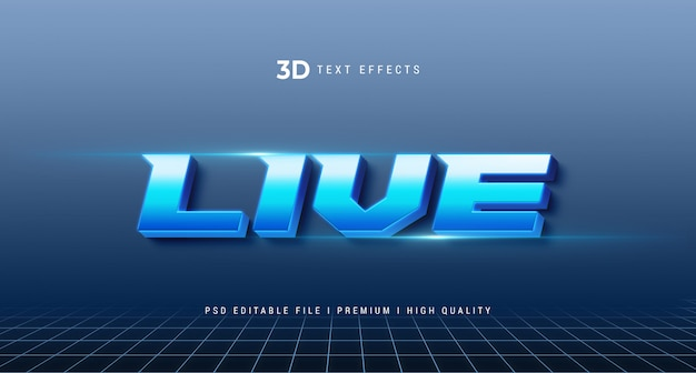 Live 3d text style effect mockup