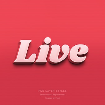 Live 3d text style effect psd
