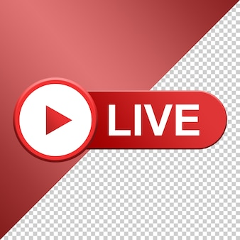 Live button, social media live streaming 3d