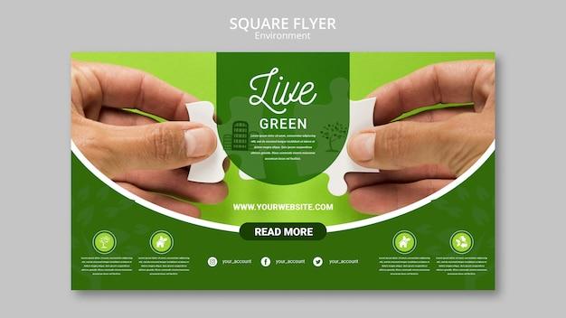 녹색 환경과 퍼즐 조각을 들고 손을 라이브