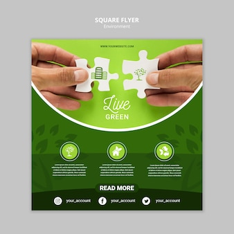 Live green environment with puzzle pieces square flyer template