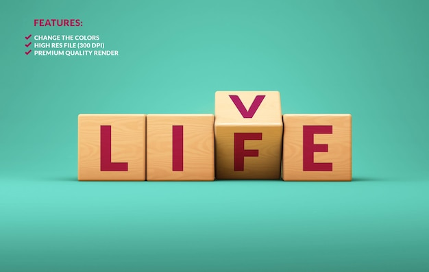 Live life wooden cubes in 3d rendering on a blue background