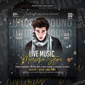 ライブミュージックパーティーチラシソーシャルメディア投稿とウェブバナー