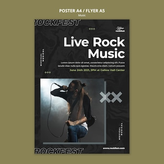 Шаблон флаера с живой рок-музыкой