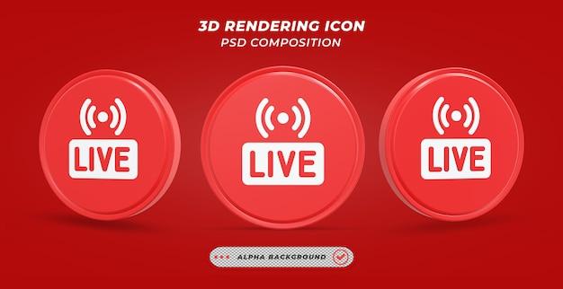 Значок прямой трансляции в 3d-рендеринге