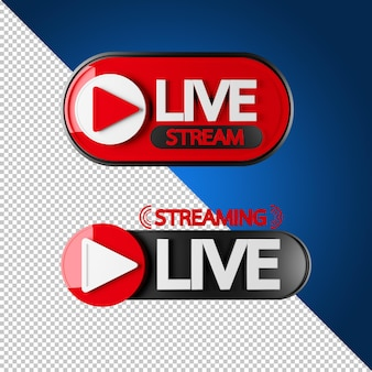 Live stream sign in 3d rendering isolated